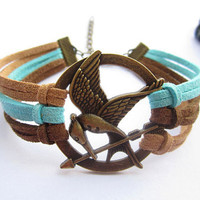 Mockingjay inspired unique Bracelet---antique bronze The hunger game style pendant &amp; colorful rope chain
