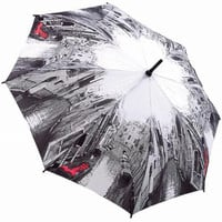 Black &amp; White with Red Venice Scene Umbrella - Unique Vintage - Bridesmaid &amp; Wedding Dresses