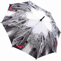 Black & White with Red Venice Scene Umbrella - Unique Vintage - Bridesmaid & Wedding Dresses