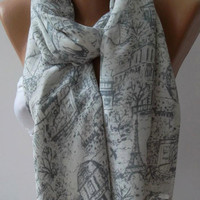 Classy - light grey  - Shawl / Scarf  - cotton/ Eiffel.......unisex
