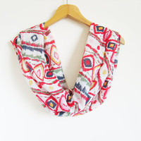 Tribal Scarf / Geometric Scarf /  High Fashion Shawl / Spring 2012 Fashion Pashmina / Lightweight, Red, White Scarf, Summer Scarf, Spring