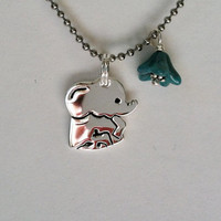Baby Elephant Sterling Silver Necklace, New Mom, Good Luck, Lucky Elephant, Pink, Blue