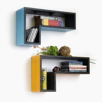 Turquoise Blue Gun-Shaped Wall Shelf / Bookshelf / Floating Shelf (Set of 2) TRI-WS096-GUN