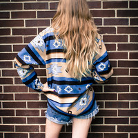 VIntage Blue Cream Brown Black Southwest Aztec Button Up Oversized Blouse