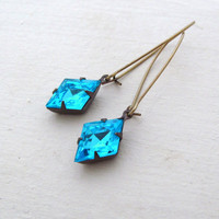 London Blue Rhinestone Earrings Aqua Rhinestone Earrings Hollywood Glam Bridal Earrings Something Blue - Blue Jean Dream