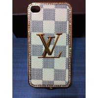 Amazon.com: Limited Edition LV Print on Front with Gold Frame Leather Case for Iphone 4/4s: Cell Phones & Accessories