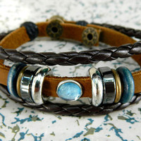 Adjustable metal bracelet Blue diamond compact couple Leather Braided Bracelet  Stones beads wood beads