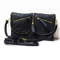 Zipper leather bag