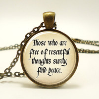 Buddhist Quote Necklace, Peace, Zen Buddha Sayings Yoga Jewelery (0829B1IN)