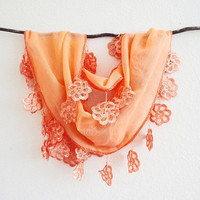 Summer Sale Outrageous Orange Sheer Cotton Silver Lace Scarf