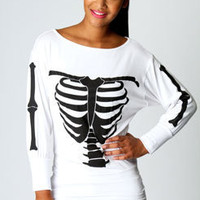Abigial Bones Print Batwing Top