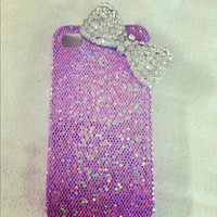 Light purple glitter iphone 4/4s case with over sized rhinestone bow embellishment