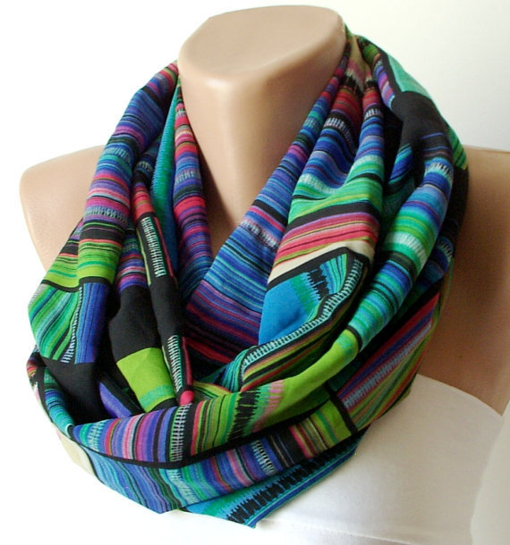 Blue, green and black line.....Infinity Loop Scarf ..Chiffon... Scarf...Blue, Black and green
