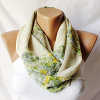 Cream and flora.....Infinity Loop Scarf ..Chiffon... Scarf...Flowers