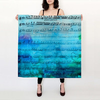Blue Music Silk Scarf - Beautiful silk square scarf  - indigo teal aqua  - accessories, scarves, lady's