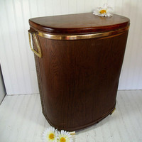Vintage OverSized Dark Brown Wicker & Wood Clothes Hamper - Mid Century Large Pearl Wick Style Laundry Bin Solid Wood Lid Retro Gold Accents