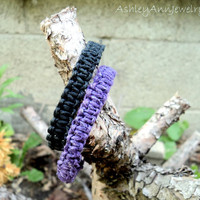 Hemp Bracelets Midnight Black and Majestic Purple Square Knot Unisex