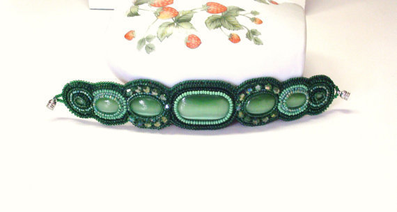 Handmade Bead Embroidered Bracelet in Greens