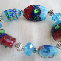 Lampwork Bracelet Red Blue Swirled Beads Stretch