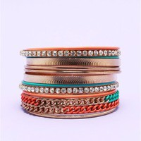 A&#x27;GACI Colorblock Chain Stacked Bracelet - New Arrivals