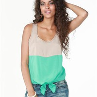 A&#x27;GACI Colorblock Tie Front Tank - New Arrivals