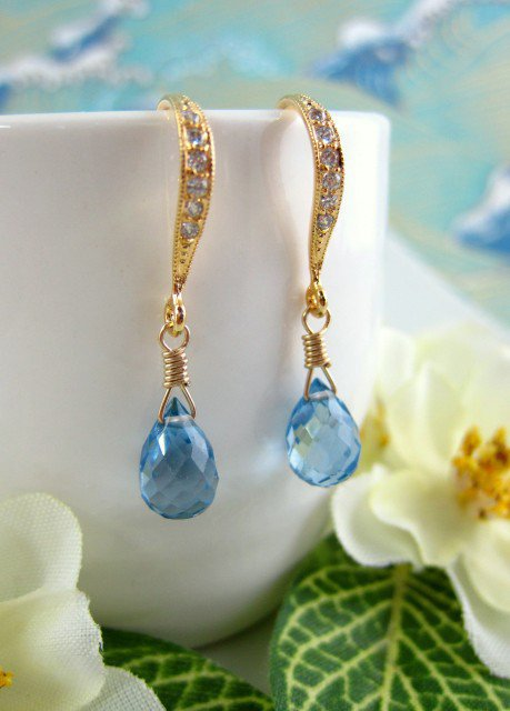 Gold diamond Swiss blue quartz hook earrings