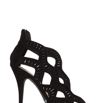 FOREVER 21 Faux Suede Cutout Heels Black