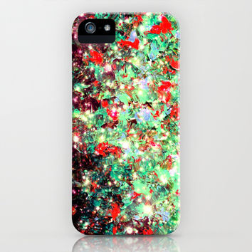 MISTLETOE NEBULA Colorful Festive Christmas Red Green Sparkle Galaxy Ombre Xmas Holidaze Abstract  iPhone & iPod Case by EbiEmporium