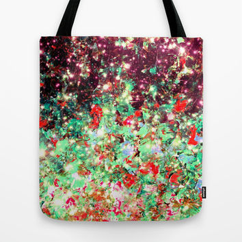MISTLETOE NEBULA Colorful Festive Christmas Red Green Sparkle Galaxy Ombre Xmas Holidaze Abstract  Tote Bag by EbiEmporium