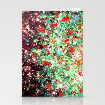MISTLETOE NEBULA Colorful Festive Christmas Red Green Sparkle Galaxy Ombre Xmas Holidaze Abstract  Stationery Cards by EbiEmporium
