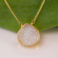 White Agate Druzy Necklace - 14k Gold Filled Chain - bezel set necklace - gemstone necklace
