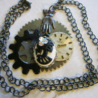 Steampunk Skull Gears Necklace