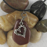 "Beach Stone & Pewter Heart Necklace on 18"" Black Leather Cord"