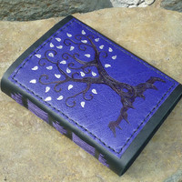 Purple Tree with silver leaves leather Journal, Diary, Notebook or Sketchbook