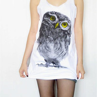 BABY OWL HOOT Yellow Eyes Bird Animal Tank Top Women T-Shirt Tunic Top Singlet Vest T-Shirt White T-Shirt Sleeveless Owl T-Shirt Size S M