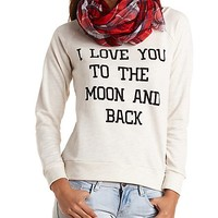 Moon & Back Graphic Sweatshirt by Charlotte Russe - Oatmeal