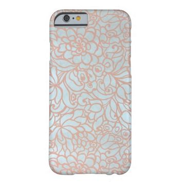 Art Deco Pink Blue Floral pattern iPhone 6 case