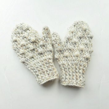 Crochet Toddler Mittens in Oatmeal Bobbles, MADE TO ORDER.