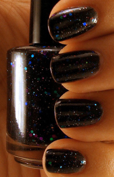Stargazing - Black Creme Nail Polish with Glitter - Full Size