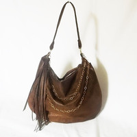 Hobo purse - brown ultra suede handbag with fringe - Vegan slouch bag