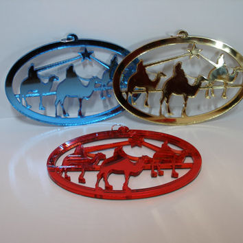 "One mirrored acrylic laser cut ornament of the Three Wisemen, approx. size 5-1/8"" x 2-5/8"""