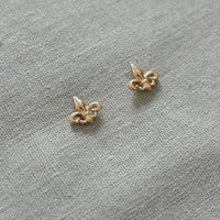 Make a wish gold plated little fleur de lis earrings