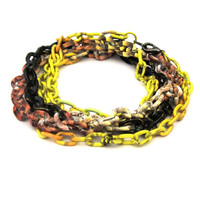 Mixed Chain Wrap Bracelet or Necklace yellow black and orange