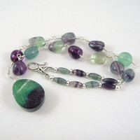 Rainbow Fluorite Necklace Teardrop Pendant Wire Wrapped Loops