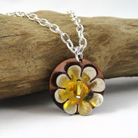 Mixed Metal Flower Necklace with Swarovski Crystal