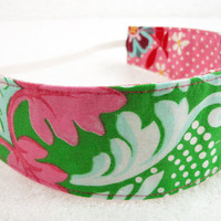 Children reversible headband - M2M Matilda Jane pink green cotton fabric girl toddler stocking stuffer party favor - Bandeau - Ready to ship