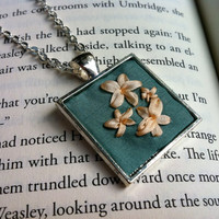 Pale Green and Cream Flower Embroidered Pendant Necklace - Silk Ribbon Embroidery by BeanTown Embroidery