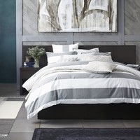 Mod Stripe Duvet Cover + Shams - White/Feather Gray