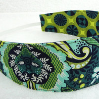 Women Reversible Fabric Headband - Tula Pink Prince Charming cotton lime olive green navy flowers geometric gift - Bandeau - Ready to ship
