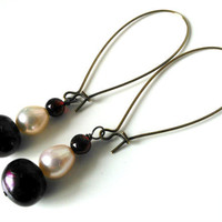 Garnet and Pearl Earrings, Long Kidney Ear Wires , Burgundy, Light Pink, Copper, Summer, Beaded